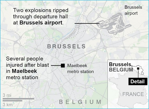 Belgium Brussels Terrorist Attacks - Map