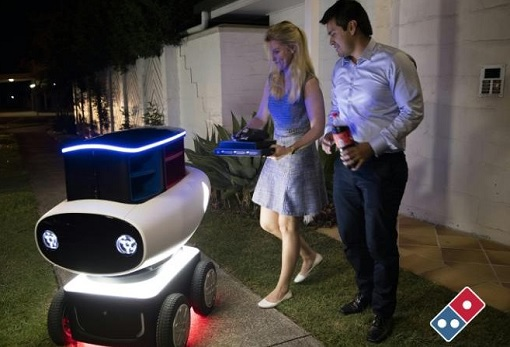 Domino Pizza Delivery Robot - Domino's Robotic Unit DRU - Customer Taking Delivery