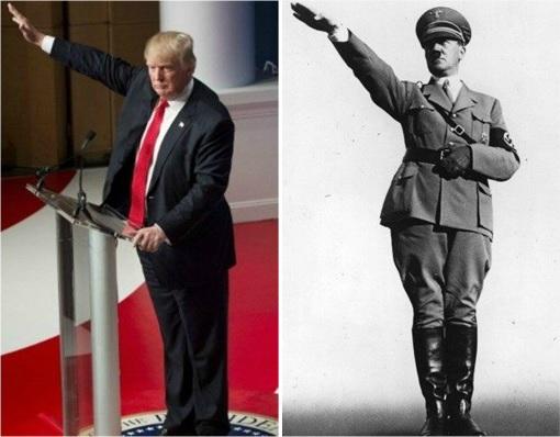 Donald Trump - Adolf Hitler - Raised Hands