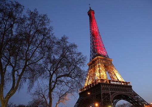 Eiffel Tower - Belgium Flag Colour - Brussels Attacks