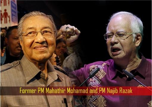 Former PM Mahathir Mohamad and PM Najib Razak