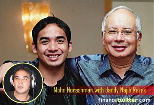 Norashman Najib Razak with Daddy Najib Razak - inset DJ Norashman