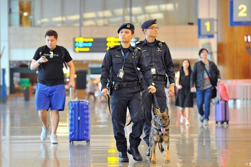 Singapore Terror Alert - Police in Airport