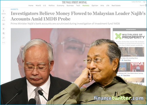 Wall Street Journal - Najib Receives USD700 Million - Najib Looking Down - Mahathir Grinning