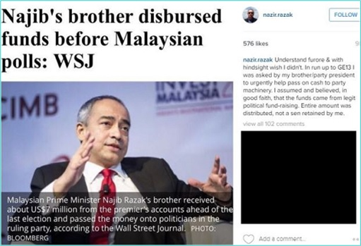 1MDB Scandal - Nazir Razak Disbursed Funds Before Election - WSJ