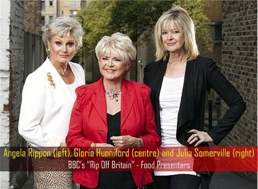 BBC Rip Off Britain Food Presenters - Angela Rippon, Gloria Hunniford and Julia Somerville