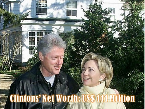 Hillary and Bill Clinton - Net Worth - USD 111 Million
