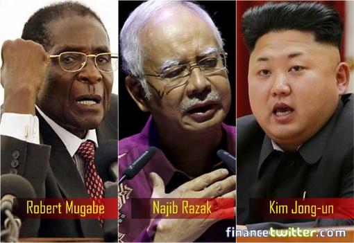 Najib Razak - Robert Mugabe - Kim Jong Un