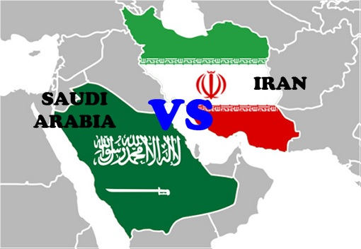 Saudi Arabia vs Iran - Flag on Map