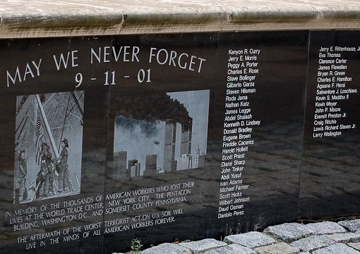 911 September 11 Terrorist Attack - Memorial Stone - May We Never Forget