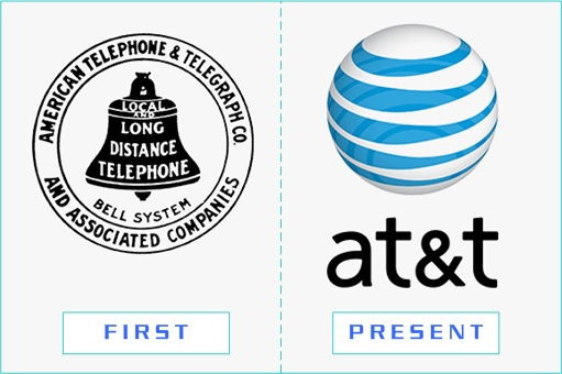 AT&T - First and Present Logo