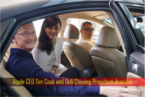 Apple CEO Tim Cook and Didi Chuxing President Jean Lui