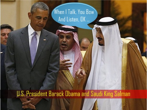 Barack Obama and King Salman - Bow and Listen