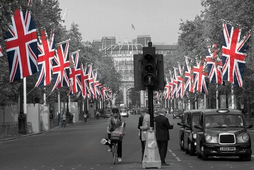 British Flags Along Street