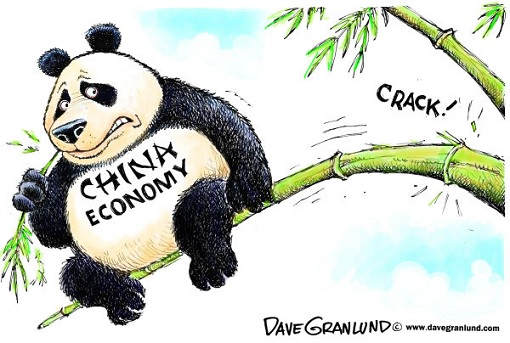 China Economy - Panda Bear on Bamboo Tree - Cracking
