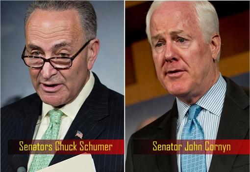 Democrat Senator Chuck Schumer of New York and Republican Senator John Cornyn of Texas - JASTA
