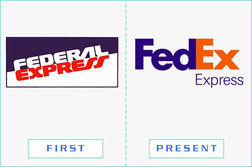 Federal Express Fedex - First and Present Logo