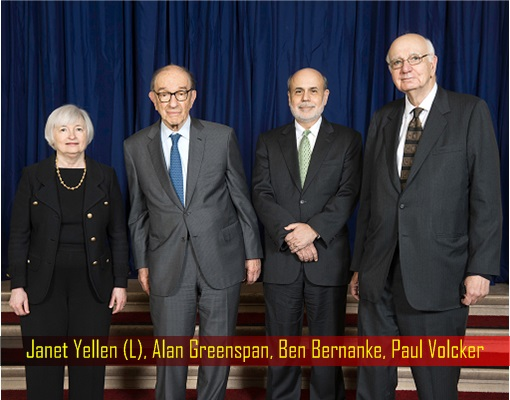 Federal Reserve Chair Since 1979 - Paul Volcker, Alan Greenspan, Ben Bernanke, Janet Yellen