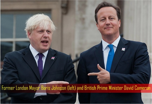 Former London Mayor Boris Johnson (left) and British Prime Minister David Cameron