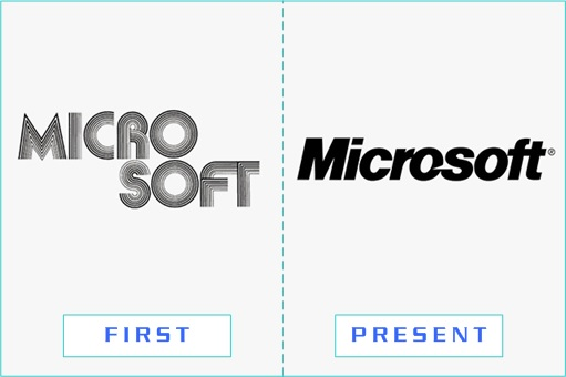 Microsoft - First and Present Logo