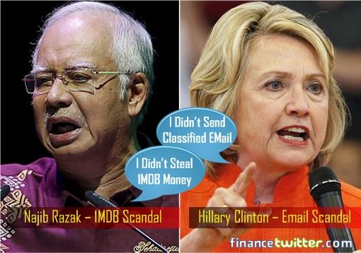 Najib Razak's 1MDB Scandal - Hillary Clinton's Email Scandal - Denials