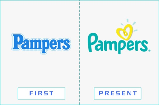 Pampers - First and Present Logo
