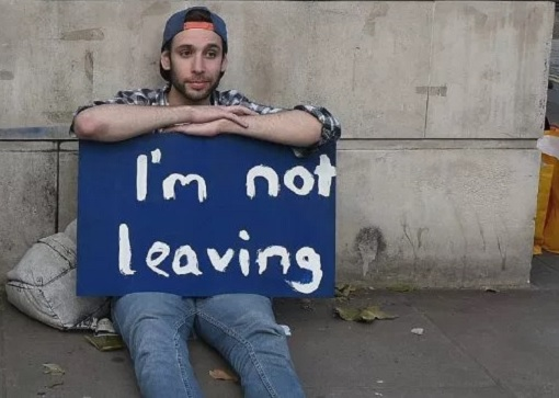 Brexit - A Young Man Holding Card Message - I'm Not Leaving