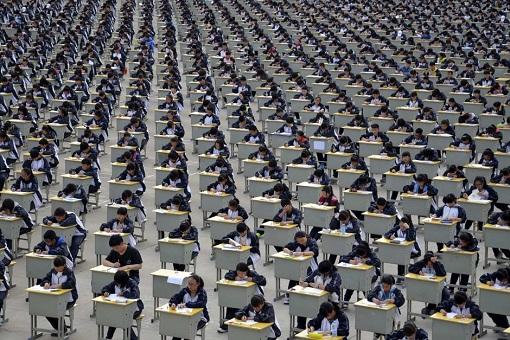 China Gaokao Exam Hall - Students Sitting For Exams