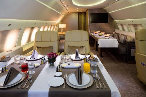 Emirates Airbus A319 Private Jet - Lounge Area For Dining