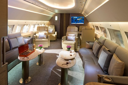 Emirates Airbus A319 Private Jet - Lounge Area Near Front of Plane