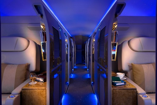 Emirates Airbus A319 Private Jet - The Second Zone - Visitor's seat and a mini-bar in each