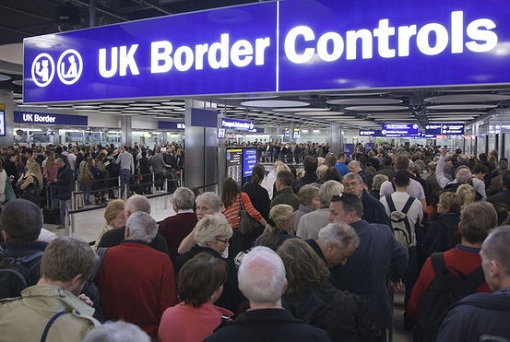 Migrants at UK Border Control
