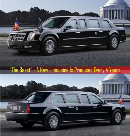 President Limousine - The Beast Front and Rear View - New Car Every Four Years