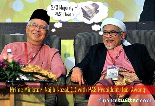 Prime Minister Najib Razak with PAS President Hadi Awang - Secret Objective
