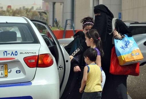 Saudi Women Taking A Taxi Ride