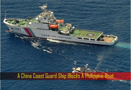 A China Coast Guard Ship Blocks A Philippine Boat