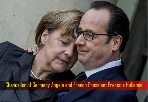 Chancellor of Germany Angela and French President Francois Hollande