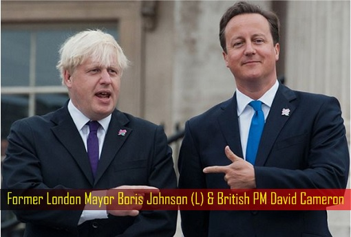 Former London Mayor Boris Johnson and British PM David Cameron