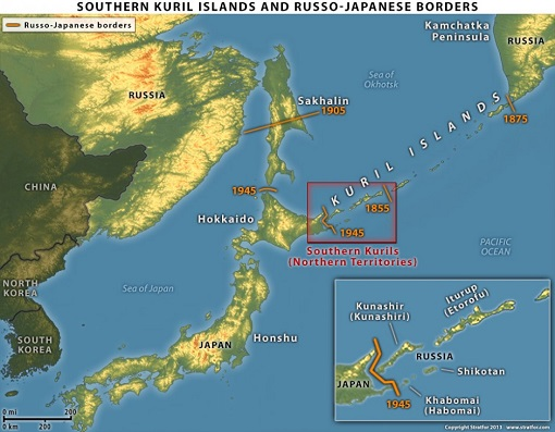 Kuril Island Map - Russia and Japanese Border