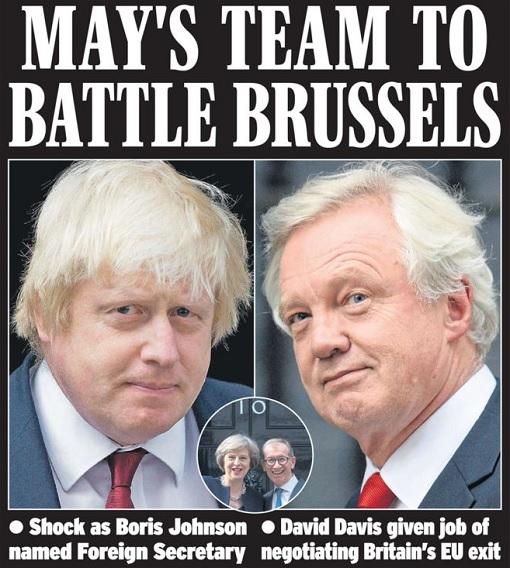 Prime Minister Theresa May - Team o Battle Brussels - Boris Johnson and David Davis