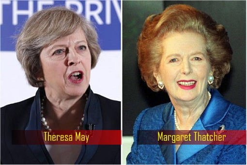 Prime Minister Theresa May and former Iron Lady Margaret Thatcher