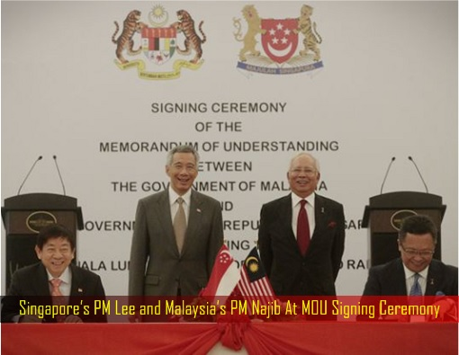Singapore-Kuala Lumpur HSR High-Speed Rail Project - Signing Ceremony - Singapore PM Lee Hsien Loong and Malaysia Najib Razak