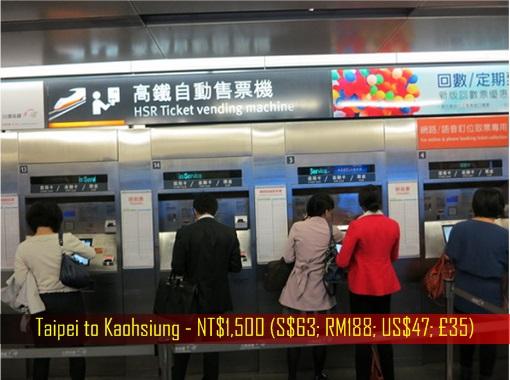Singapore-Kuala Lumpur HSR High-Speed Rail Project - Taipei to Kaohsiung Ticket Fare - NT$1,500 (S$63; RM188; US$47; £35)