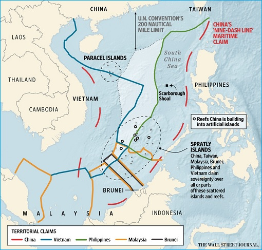 South China Sea - China Nine Dash Line Territorial Disputes - Asian Claims - Map