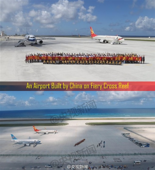 South China Sea Dispute - An Airport Built by China on Fiery Cross Reef