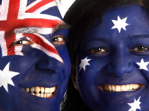 United Kingdom and Australian Relationship - Flag Painted on Face