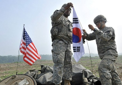 United States and South Korea Military Alliance - Flags