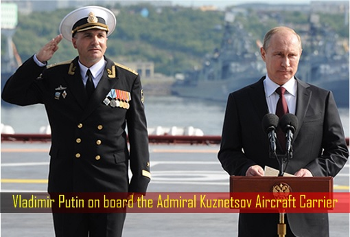 Vladimir Putin on board the Admiral Kuznetsov Aircraft Carrier