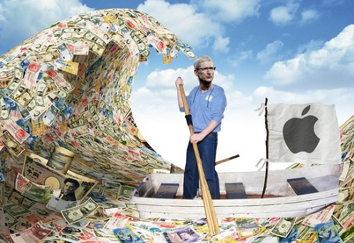 Apple Cash Reserve - Tim Cook Rowing A Boat - Sea of Cash