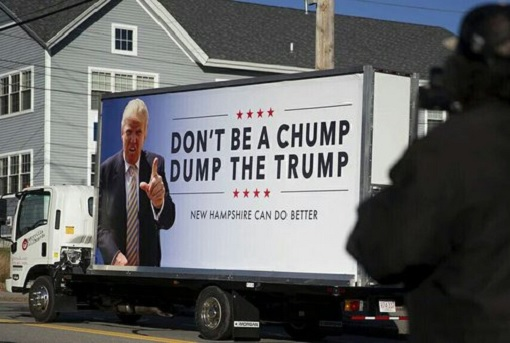 Billboard Advertisement - Anti Trump - Don't Be A Chump Dump The Trump